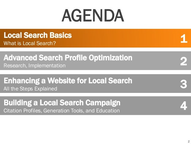 2 Local Search Basics What is Local Search? Advanced Search Profile Optimization Research, Implementation Building a Local...