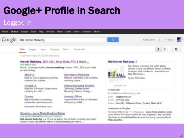 Google+ Profile in Search 21 Logged In