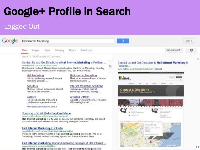 22 Logged Out Google+ Profile in Search