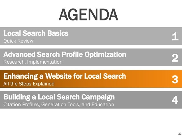 23 Local Search Basics Quick Review Advanced Search Profile Optimization Research, Implementation Building a Local Search ...