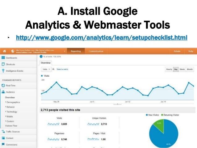 A. Install Google Analytics & Webmaster Tools 25 ‣ http://www.google.com/analytics/learn/setupchecklist.html