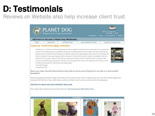 D: Testimonials 28 Reviews on Website also help increase client trust