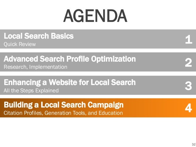32 Local Search Basics Quick Review Advanced Search Profile Optimization Research, Implementation Building a Local Search ...