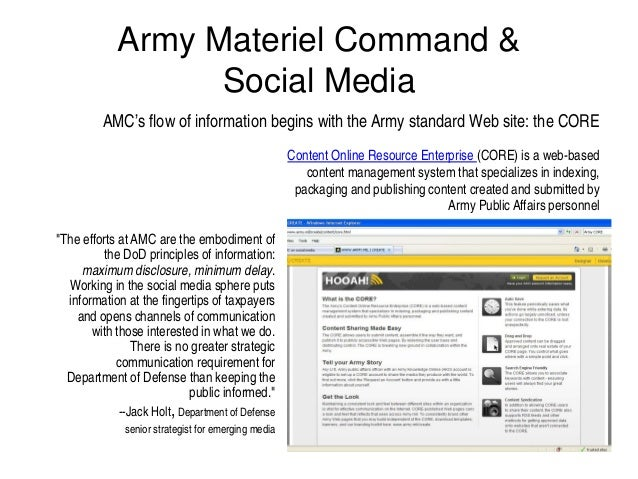 Army Materiel Command &                  Social Media         AMC's flow of information begins with the Army standard Web ...