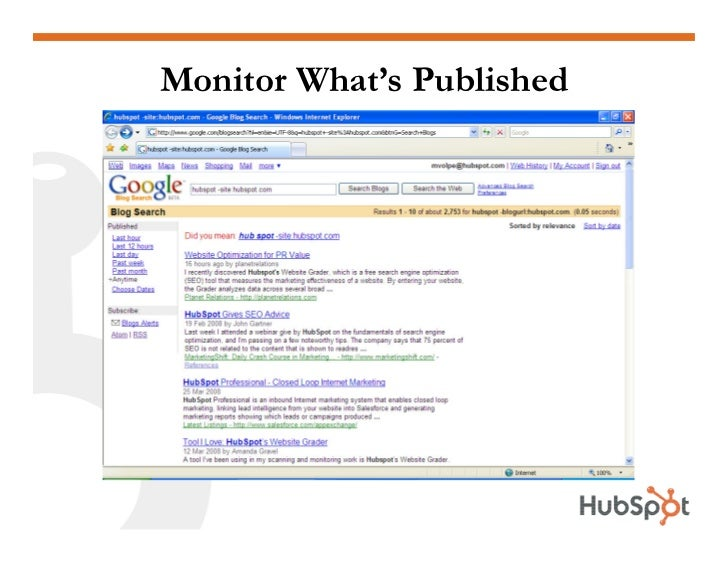 Monitor What's Published