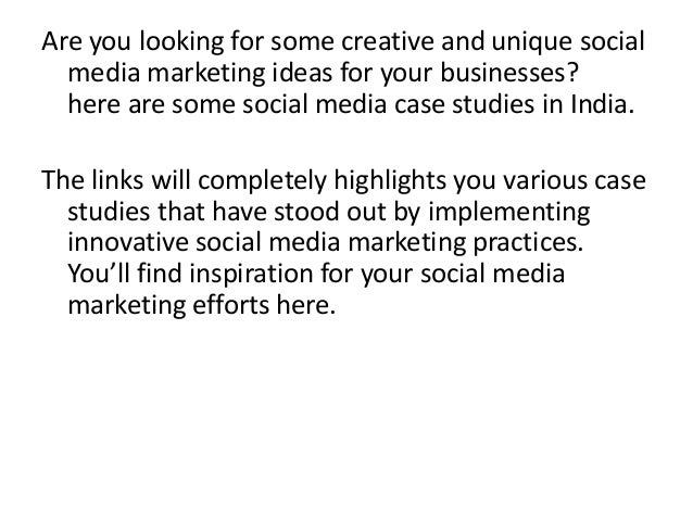 social media marketing case study india