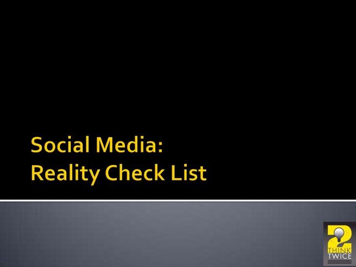Social Media Reality Check list<br />