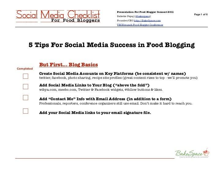 Social Media Checklist             For Food Bloggers                                                        Presentation F...