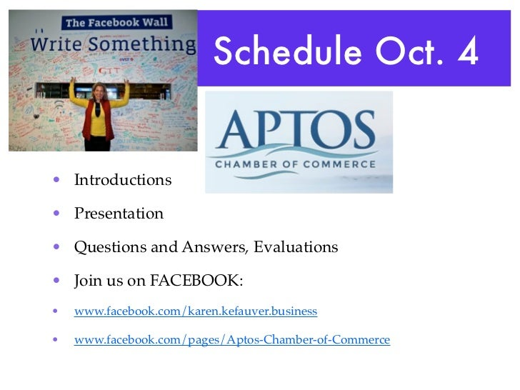Schedule Oct. 4• Introductions• Presentation• Questions and Answers, Evaluations• Join us on FACEBOOK:•   www.facebook.com...