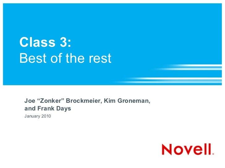 "Class 3:Best of the restJoe ""Zonker"" Brockmeier, Kim Groneman,and Frank DaysJanuary 2010"