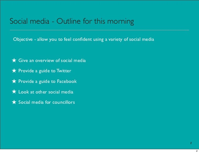Social media - Outline for this morning Objective - allow you to feel confident using a variety of social media★ Give an ov...