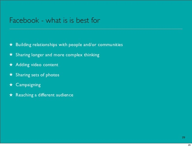 Facebook - what is is best for★ Building relationships with people and/or communities★ Sharing longer and more complex thi...