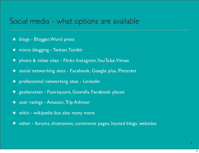 Social media - what options are available★ blogs - Blogger, Word press★ micro blogging - Twitter, Tumblr★ photo & video si...