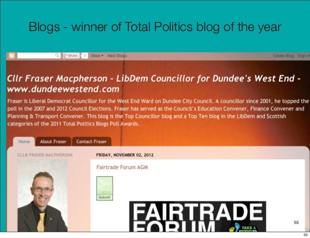 Blogs - winner of Total Politics blog of the year                                                    55                   ...