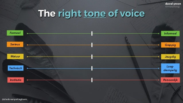 @dadovanpeteghem The right tone of voice Formeel Informeel Serieus Matuur Technisch Institutie Grappig Jeugdig Laag- drem...