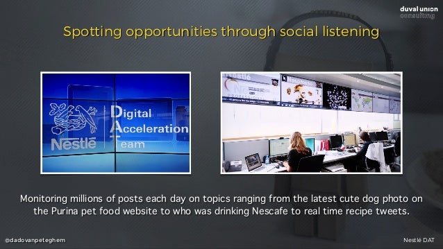 @dadovanpeteghem Spotting opportunities through social listening Monitoring millions of posts each day on topics ranging f...