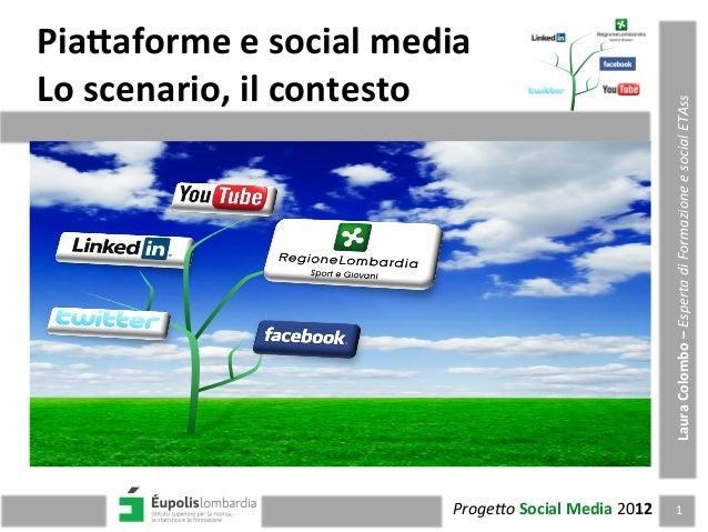 Pia$aforme  e  social  media   Lo  scenario,  il  contesto   1  Proge&o  Social  Media  2012   L...
