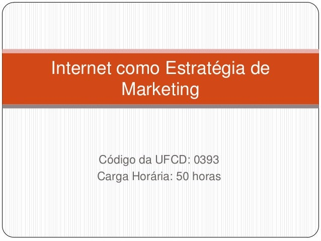 Internet como Estratégia de Marketing  Código da UFCD: 0393 Carga Horária: 50 horas