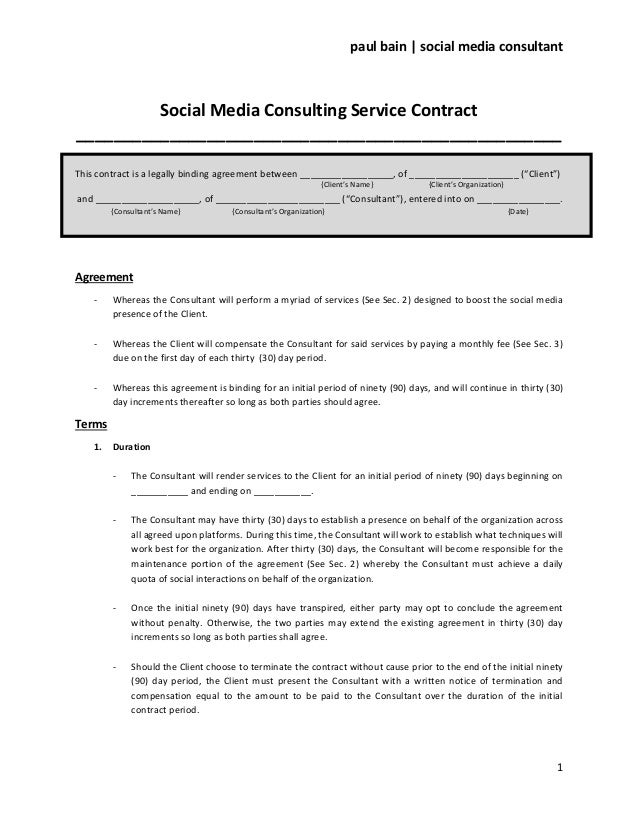 Social media consulting services contract for Marketing consultant contract template
