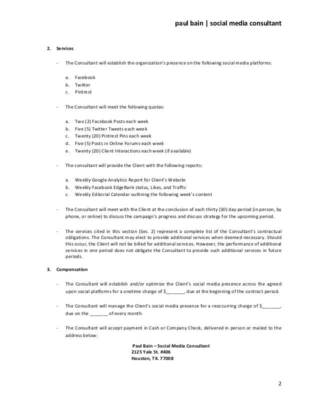 Consulting Agreement Contract  Consultant Contract Template