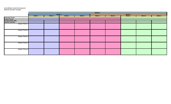 Social Media Content DevelopmentEditorial Calendar Template .