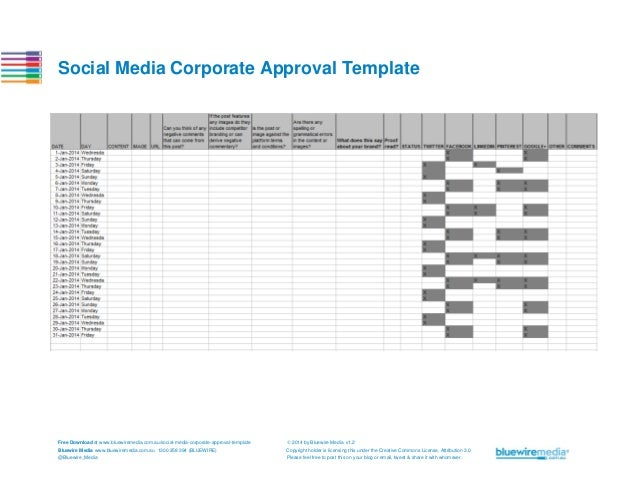 Social Media Corporate Approval Template  Free Download at www.bluewiremedia.com.au/social-media-corporate-approval-templa...