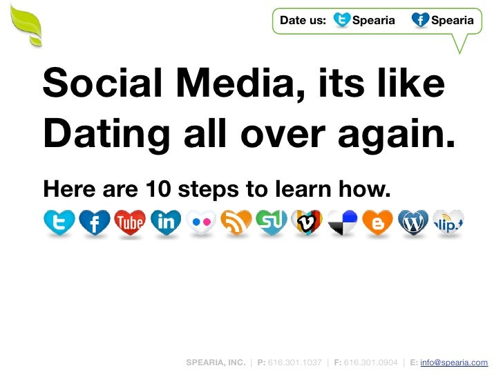 Date us:         Spearia           Spearia     Social Media, its like Dating all over again. Here are 10 steps to learn ho...