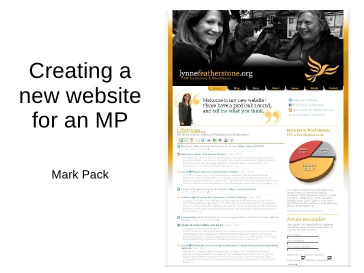 Creating a new website for an MP Mark Pack
