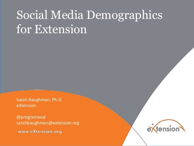 Social Media Demographics for Extension Sarah Baughman, Ph.D. eXtension @programeval sarahbaughman@extension.org