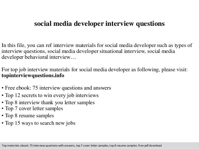 Social Media Developer Interview Questions In This File, You Can Ref  Interview Materials For Social ...