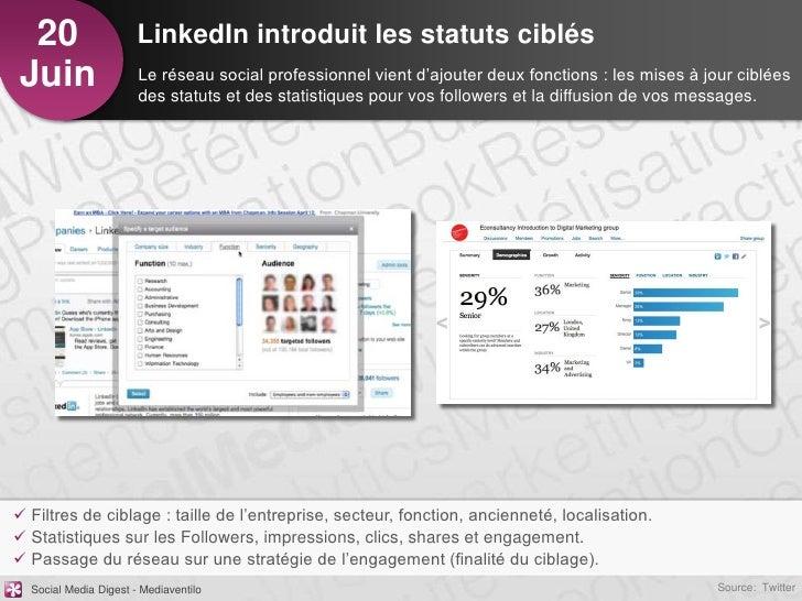 20                    LinkedIn introduit les statuts ciblésJuin                   Le réseau social professionnel vient d'a...