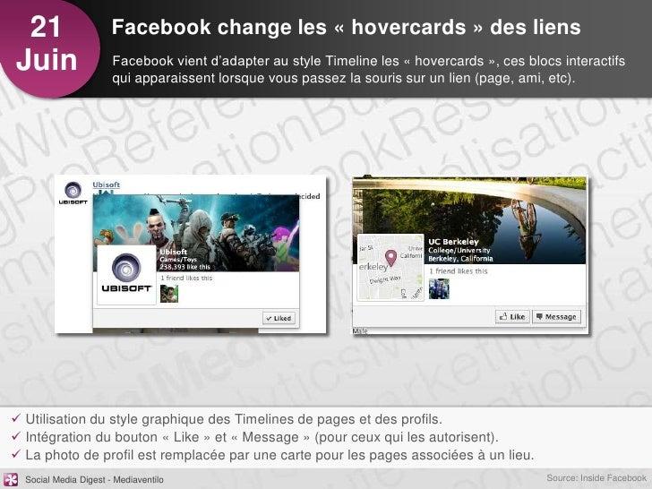 21                    Facebook change les « hovercards » des liensJuin                   Facebook vient d'adapter au style...