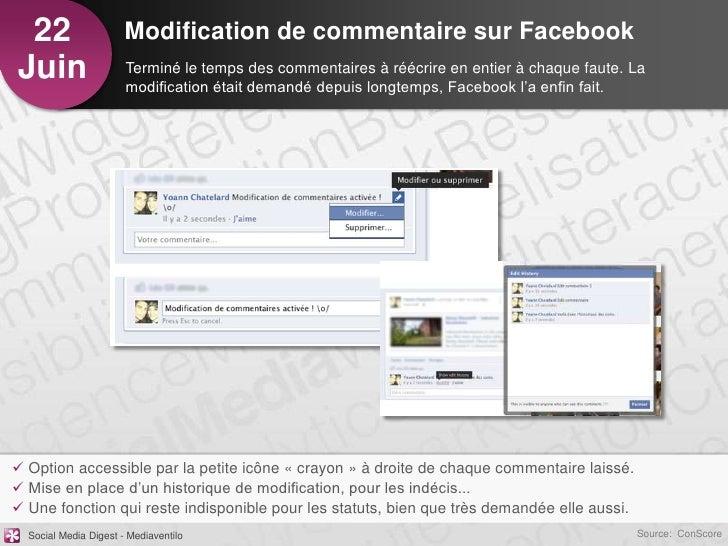 22                    Modification de commentaire sur FacebookJuin                   Terminé le temps des commentaires à r...