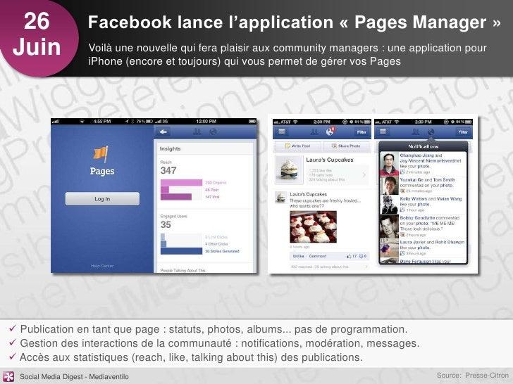 26                    Facebook lance l'application « Pages Manager »Juin                   Voilà une nouvelle qui fera pla...