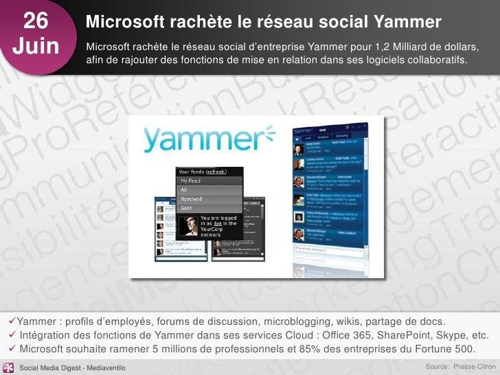 26                    Microsoft rachète le réseau social YammerJuin                   Microsoft rachète le réseau social d...