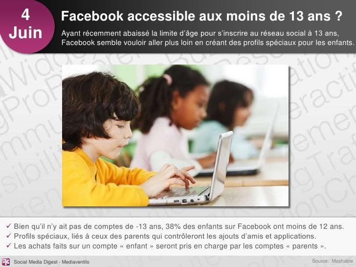 4                     Facebook accessible aux moins de 13 ans ?Juin                   Ayant récemment abaissé la limite d'...