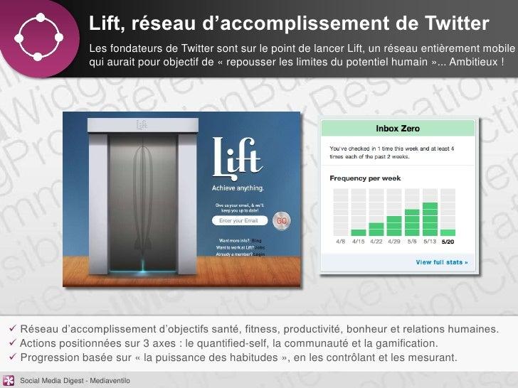 Lift, réseau d'accomplissement de Twitter                       Les fondateurs de Twitter sont sur le point de lancer Lift...