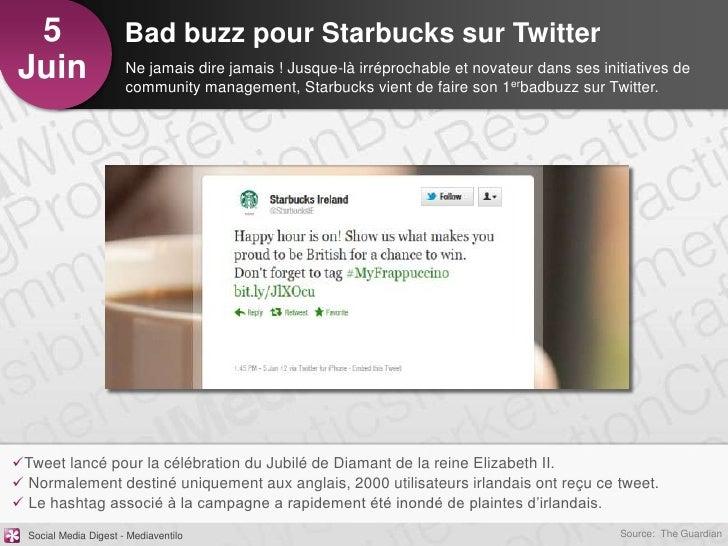 5                     Bad buzz pour Starbucks sur TwitterJuin                   Ne jamais dire jamais ! Jusque-là irréproc...
