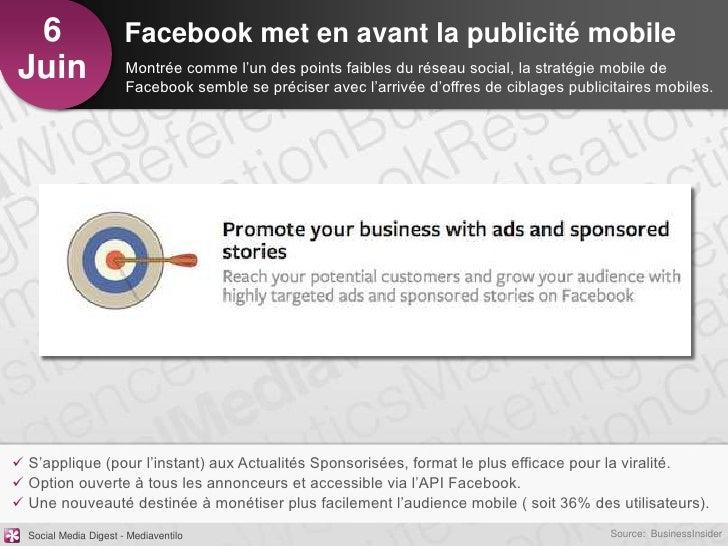 6                     Facebook met en avant la publicité mobileJuin                   Montrée comme l'un des points faible...