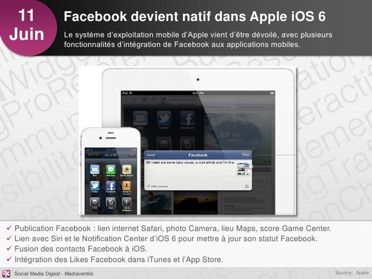 11                    Facebook devient natif dans Apple iOS 6Juin                   Le système d'exploitation mobile d'App...