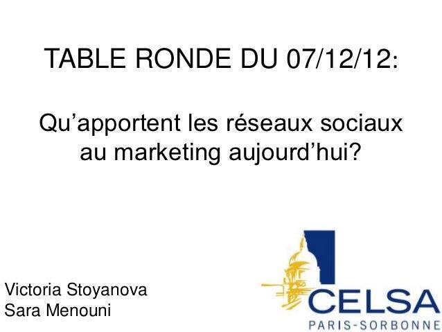 TABLE RONDE DU 07/12/12:    Qu'apportent les réseaux sociaux       au marketing aujourd'hui?Victoria StoyanovaSara Menouni