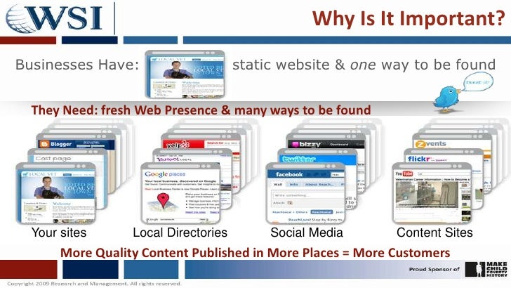 Why Is It Important?<br />Businesses Have:<br />static website & one way to be found<br />They Need: fresh Web Presence & ...