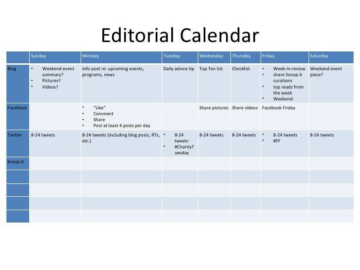 Editorial Calendar           Sunday               Monday                                  Tuesday            Wednesday    ...