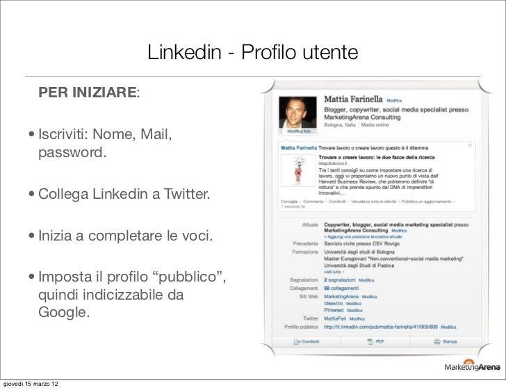 Linkedin - Profilo utente           PER INIZIARE:        • Iscriviti: Nome, Mail,          password.        • Collega Linke...