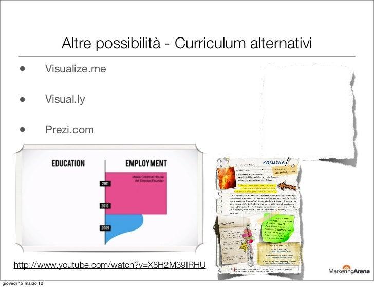 Altre possibilità - Curriculum alternativi       •              Visualize.me       •              Visual.ly       •       ...