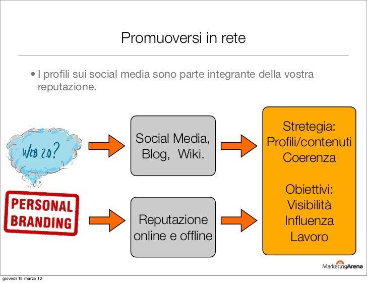 Promuoversi in rete             • I profili sui social media sono parte integrante della vostra               reputazione. ...