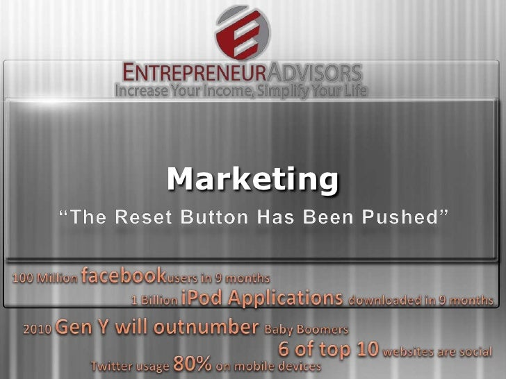 """Marketing<br />""""The Reset Button Has Been Pushed""""<br />100 Million facebookusers in 9 months<br />1 Billion iPod Applicati..."""