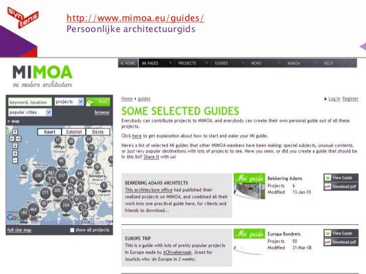 http://www.mimoa.eu/guides/<br />Persoonlijke architectuurgids<br />