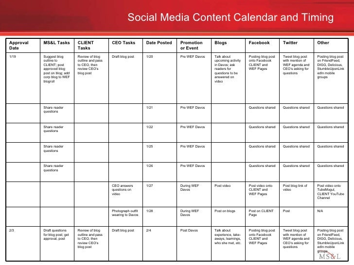 Social Media Engagement Plan Example - Social media content schedule template