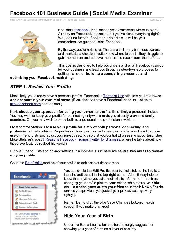 Facebook 101 Business Guide | Social Media Examinerhttp://w w w .socialmediaexaminer.com/facebook-101-business-guide/     ...